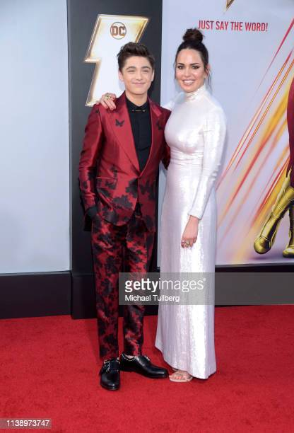 Actors Asher Angel and Marta Milans attend the world premiere of Shazam at TCL Chinese Theatre on March 28 2019 in Hollywood California
