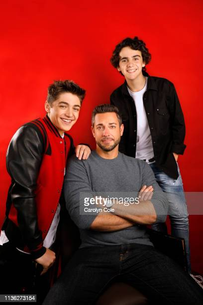 Actors Asher Angel Zachary Levi and Jack Dylan Grazer are photographed for Los Angeles Times on March 22 2019 in Los Angeles California PUBLISHED...