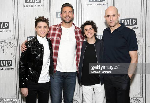 Actors Asher Angel Zachary Levi Jack Dylan Grazer and Mark Strong visit Build Studio to discuss their new film Shazam on March 15 2019 in New York...