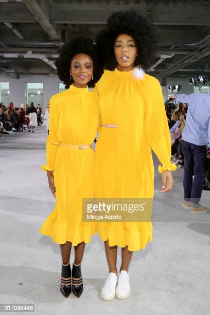Actors Ashleigh Murray and Jessica Williams attend the Tibi front row during New York Fashion Week The Shows at Pier 17 on February 11 2018 in New...