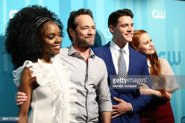 Actors Ashleigh Murray Luke Perry Casey Cott and Madelaine Petsch attend the 2017 CW Upfront on May 18 2017 in New York City