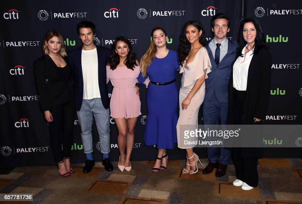 Actors Ashley Benson Tyler Blackburn Janel Parrish Sasha Pieterse Shay Mitchell Ian Harding and Andrea Parker attend The Paley Center for Media's...