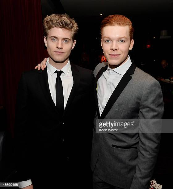Actors Ashley Charles and Cameron Monaghan pose at the after party for the premiere of The Weinstein Company's 'Vampire Academy' at the Lucky Strike...
