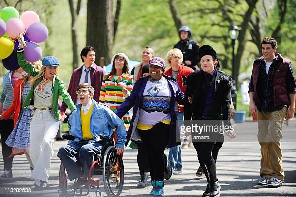 Actors Ashley Fink, Dianna Agron, Heather Morris, Kevin McHale, Harry Shum Jr., Lea Michele, Mark Salling, Jenna Ushkowitz, Amber Riley, Chord...