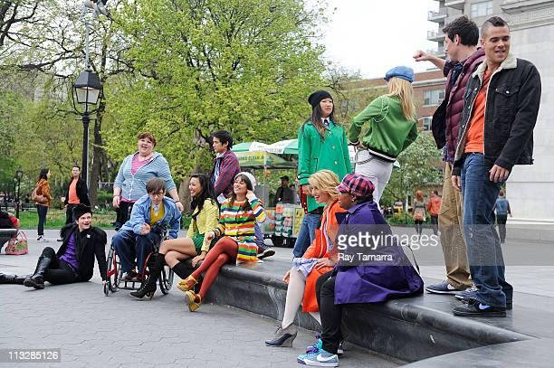 Actors Ashley Fink, Harry Shum Jr., Chord Overstreet, Jenna Ushkowitz, Heather Morris, Cory Monteith, Mark Salling, Amber Riley, Dianna Agron, Lea...