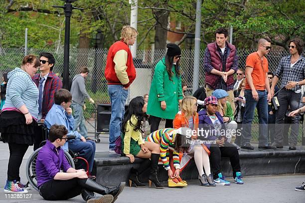 Actors Ashley Fink, Harry Shum Jr., Chord Overstreet, Jenna Ushkowitz, Heather Morris, Cory Monteith, Mark Salling, director Brad Falchuk, Amber...