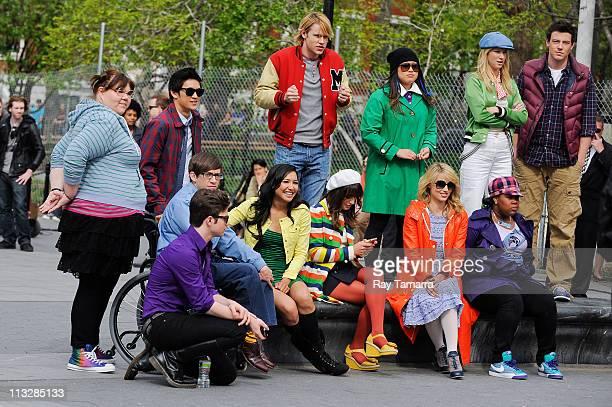 Actors Ashley Fink, Harry Shum Jr., Chord Overstreet, Jenna Ushkowitz, Heather Morris, Cory Monteith, Amber Riley, Dianna Agron, Lea Michele, Naya...