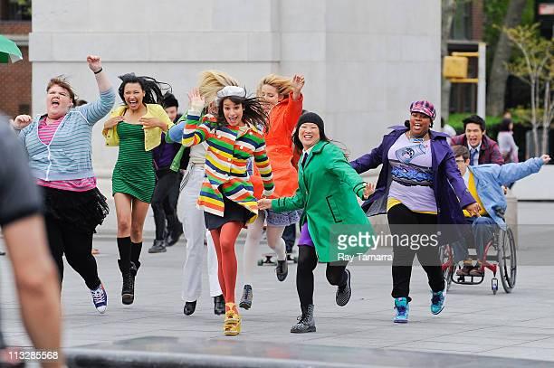 Actors Ashley Fink, Naya Rivera, Heather Morris, Lea Michele, Dianna Agron, Jenna Ushkowitz, Amber Riley, Kevin McHale, and Harry Shum Jr. Film a...