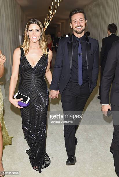 Actors Ashley Greene wearing Bulgari and Paul Khoury attend Bulgari at the 24th Annual Elton John AIDS Foundation's Oscar Viewing Party at The City...