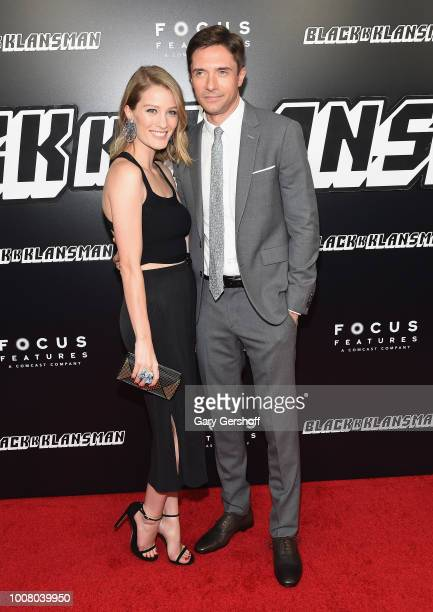 """Actors Ashley Hinshaw and Topher Grace attend the """"BlacKkKlansman"""" New York premiere at Brooklyn Academy of Music on July 30, 2018 in New York City."""