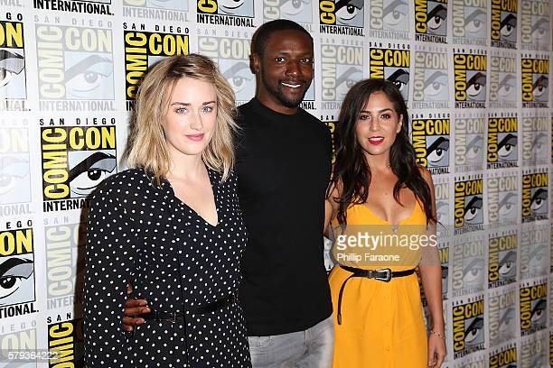 Actors Ashley Johnson Rob Brown and Audrey Esparza attend the 'Blindspot' press line during ComicCon International 2016 on July 23 2016 in San Diego...