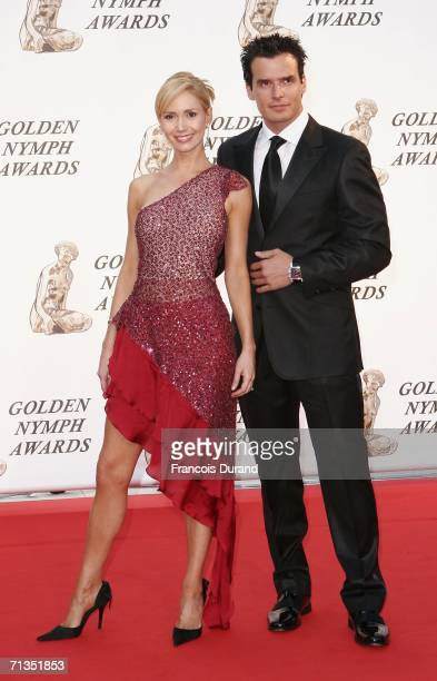 US actors Ashley Jones and Antonio Sabato Jr pose on the red carpet before the closing ceremony of the 46th annual Monte Carlo Television Festival at...