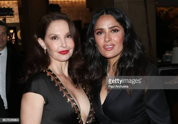 Actors Ashley Judd and Salma Hayek are seen in Beverly Hills on January 7 2018 in Los Angeles California