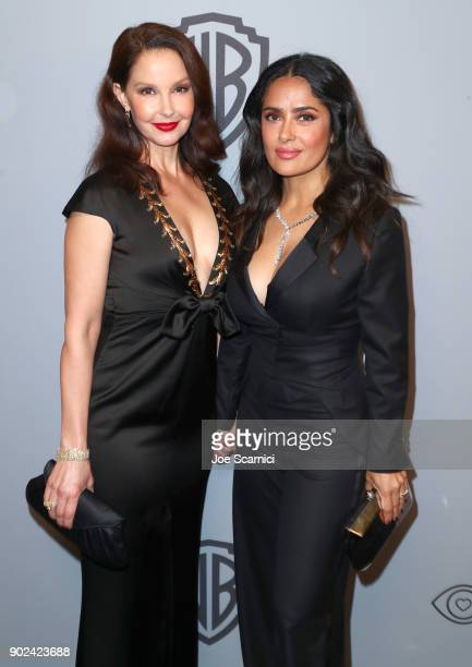 Actors Ashley Judd and Salma Hayek attend the 2018 InStyle and Warner Bros 75th Annual Golden Globe Awards PostParty at The Beverly Hilton Hotel on...