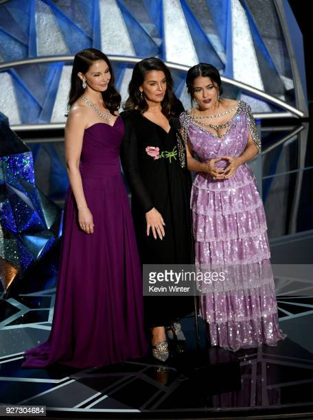Actors Ashley Judd, Annabella Sciorra and Salma Hayek speak onstage during the 90th Annual Academy Awards at the Dolby Theatre at Hollywood &...