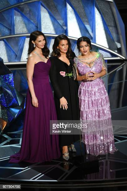 Actors Ashley Judd Annabella Sciorra and Salma Hayek speak onstage during the 90th Annual Academy Awards at the Dolby Theatre at Hollywood Highland...