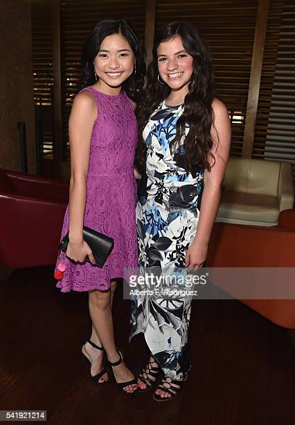 Actors Ashley Liao and Eva Bella attend the premiere of Marvista Entertainment's 'Jessica Darling's It List' at the Landmark Theater on June 20 2016...