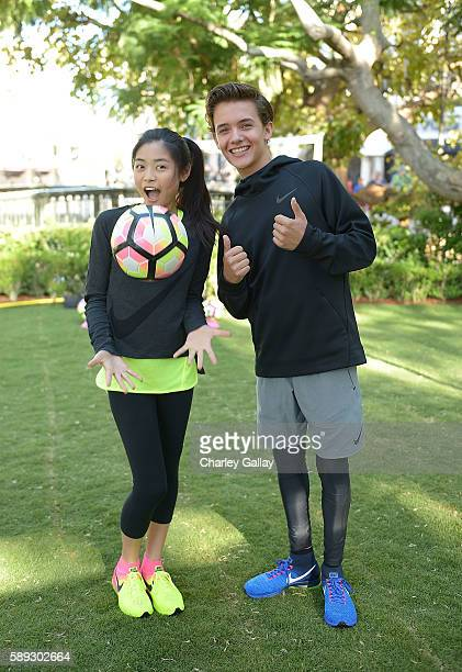 Actors Ashley Liao and Noah Urrea attend Nike Young Athletes Swoosh Saturday Featuring The Cast Of Amazon Original Series The Kicks at Nike The Grove...