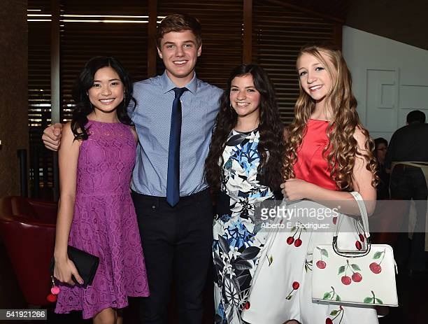 Actors Ashley Liao Anday Tural Eva Bella and Emma Rayne Lyle attend the premiere of Marvista Entertainment's Jessica Darling's It List at the...