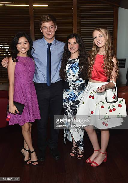 Actors Ashley Liao Anday Tural Eva Bella and Emma Rayne Lyle attend the premiere of Marvista Entertainment's 'Jessica Darling's It List' at the...