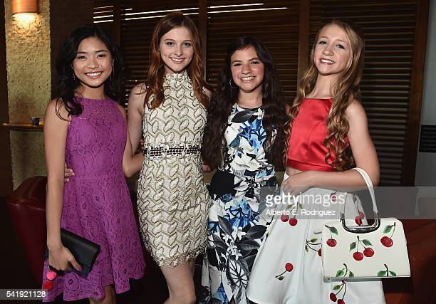 Actors Ashley Liao Jane Widdop Eva Bella and Emma Rayne Lyle attend the premiere of Marvista Entertainment's Jessica Darling's It List at the...