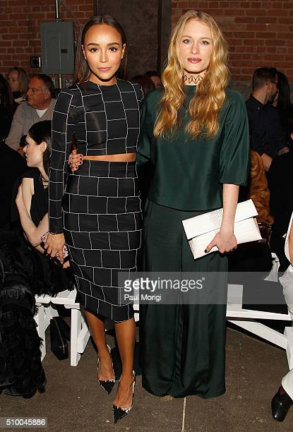 Actors Ashley Madekwe and Leven Rambin attend the Christian Siriano Fall 2016 fashion show during New York Fashion Week at ArtBeam on February 13...