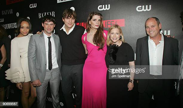 Actors Ashley Madekwe Ben Hollingsworth Ashton Kutcher Mischa Barton CW President Dawn Ostroff and guest attend the CW Network celebration of its new...