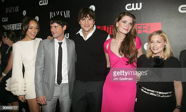 Actors Ashley Madekwe Ben Hollingsworth Ashton Kutcher Mischa Barton and CW President Dawn Ostroff attend the CW Network celebration of its new...