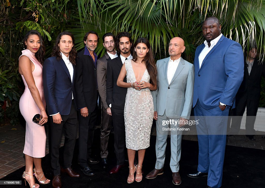 Actors Ashley Madekwe, Peter Gadiot, Alexander Siddig, Iddo Goldberg, Avan Jogia, Sibylla Deen, Ben Kingsley, and Nonso Anozie attend the Vainty Fair and Spike celebration of the premiere of the new series 'TUT' at Chateau Marmont on July 8, 2015 in Los Angeles, California.