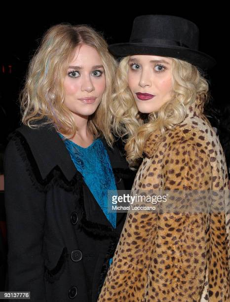 R Actors Ashley Olsen and MaryKate Olsen attend the MoMA's Second Annual Film Benefit Honoring Tim Burton at the MOMA on November 17 2009 in New York