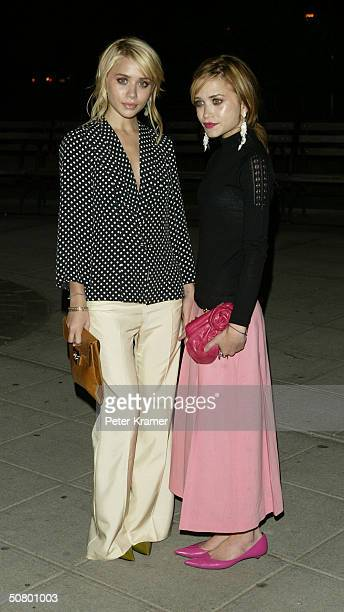 Actors Ashley Olsen and MaryKate Olsen attend the Vanity Fair Party at the Tribeca Film Festival May 4 2004 in New York City