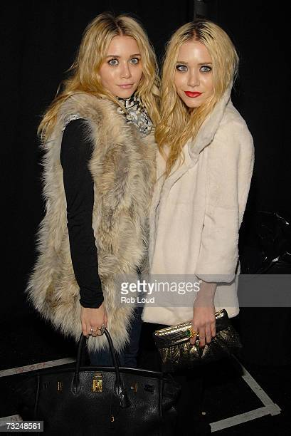 Actors Ashley Olsen and MaryKate Olsen pose backstage at the Jenni Kayne Fall 2007 fashion show during MercedesBenz Fashion Week at The Salon in...