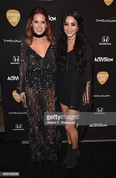 Actors Ashley Tisdale and Vanessa Hudgens attend the Guitar Hero Live Launch Party at YouTube Space LA on October 19 2015 in Los Angeles California
