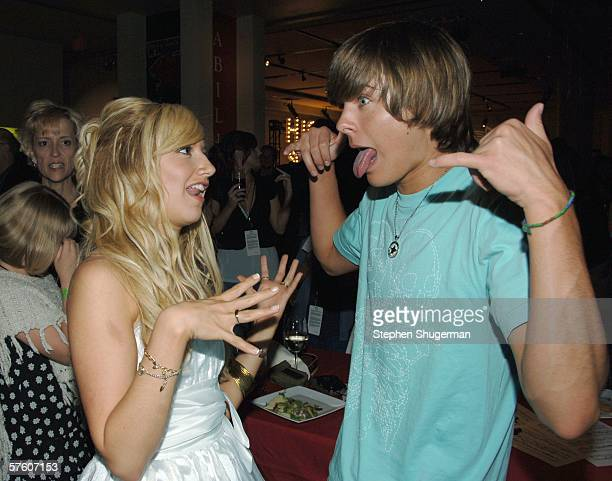 """Actors Ashley Tisdale and Zac Efron attend the after party for the DVD launch of """"High School Musical"""" on May 13, 2006 in Hollywood, California."""