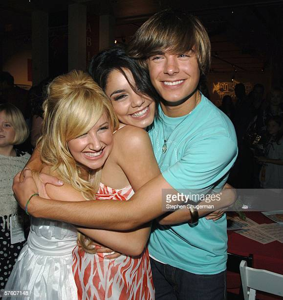 """Actors Ashley Tisdale, Vanessa Anne Hudgens and Zac Efron attend the after party for the DVD launch of """"High School Musical"""" on May 13, 2006 in..."""