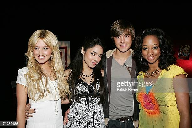Actors Ashley Tisdale Vanessa Anne Hudgens Zac Efron and Monique Coleman attend a press conference for High School Musical at the State Theatre on...
