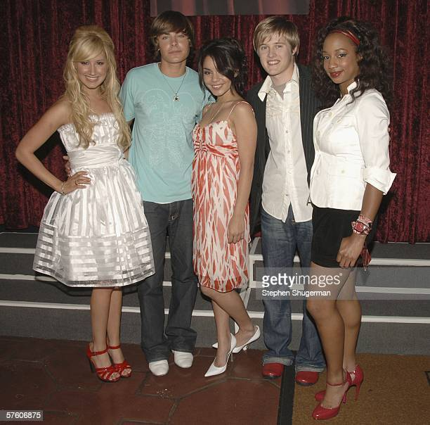 """Actors Ashley Tisdale, Zac Efron, Vanessa Anne Hudgens, Lucas Grabell and Monique Coleman attend the DVD launch gala for """"High School Musical"""" at the..."""
