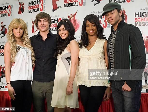 "Actors Ashley Tisdale, Zac Efron, Vanessa Hudgens, Monique Coleman and Corbin Bleu pose during the ""High School Musical 3"" Start Of Production Press..."