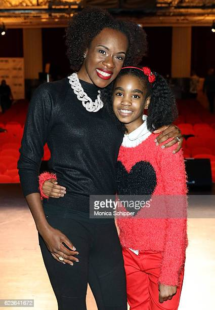 Actors Ashley Ware Jenkins and Zariah Singletary who play Noel and Young Noel respectively pose for a photo at 'The First Noel' Sneak Peek at The...