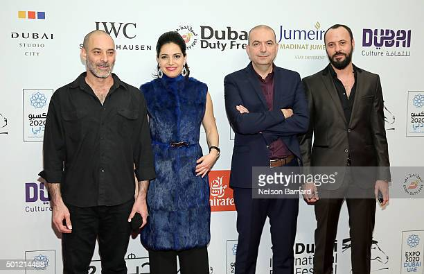 Actors Ashraf Barhom Maisa Abd Elhadi director Hany AbuAssad and actor Ali Suliman attend 'The Idol' premiere during day five of the 12th annual...