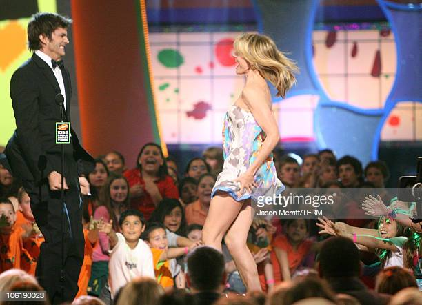 Actors Ashton Kutcher and Cameron Diaz attends Nickelodeon's 2008 Kids' Choice Awards on March 29 2008 at the Pauley Pavilion in Los Angeles...