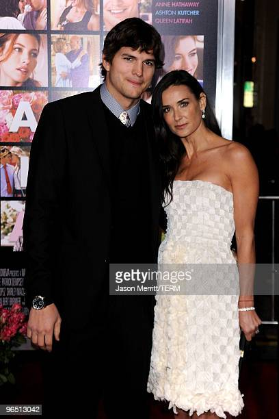 Actors Ashton Kutcher and Demi Moore arrive at the premiere of New Line Cinema's 'Valentine's Day' at Grauman's Chinese Theatre on February 8 2010 in...