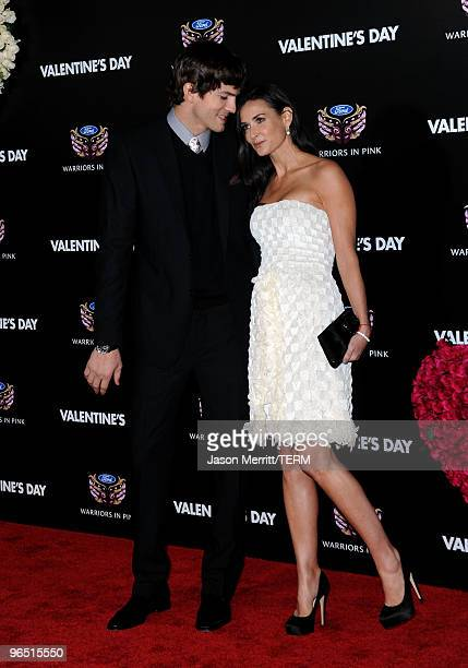 """Actors Ashton Kutcher and Demi Moore arrive at the premiere of New Line Cinema's """"Valentine's Day"""" at Grauman's Chinese Theatre on February 8, 2010..."""
