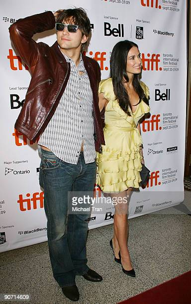 """Actors Ashton Kutcher and Demi Moore arrive to """"The Joneses"""" premiere during the 2009 Toronto International Film Festival held at The Elgin on..."""