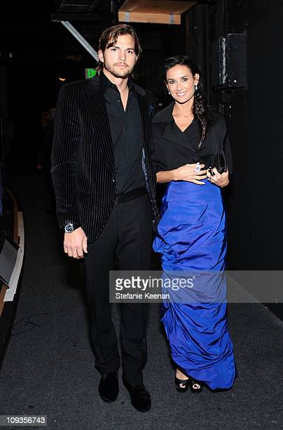 Actors Ashton Kutcher and Demi Moore attend the 13th Annual Costume Designers Guild Awards with presenting sponsor Lacoste held at The Beverly Hilton...