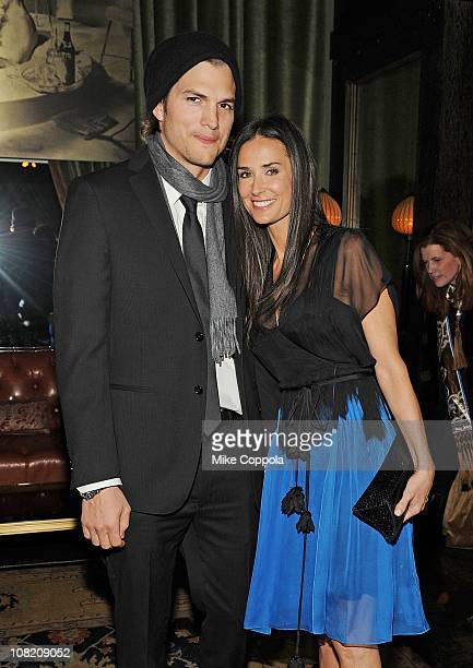 Actors Ashton Kutcher and Demi Moore attend the after party for the Cinema Society with DKNY Jeans DeLeon Tequila screening of 'No Strings Attached'...
