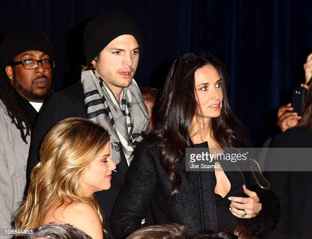 Actors Ashton Kutcher and Demi Moore attend The Black Eyed Peas Super Bowl Party presented by Sports Illustrated and Bacardi at Music Hall At Fair...