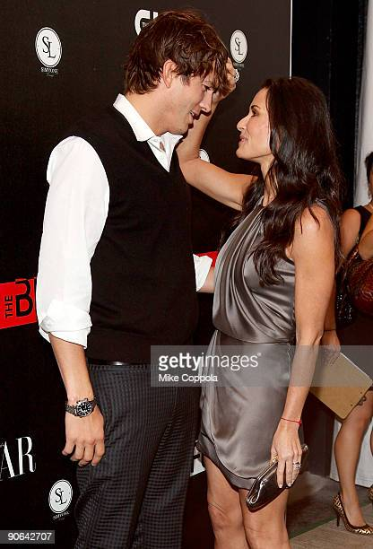 Actors Ashton Kutcher and Demi Moore attend The CW's The Beautiful Life TBL series premiere at Simyone Lounge on September 12 2009 in New York City