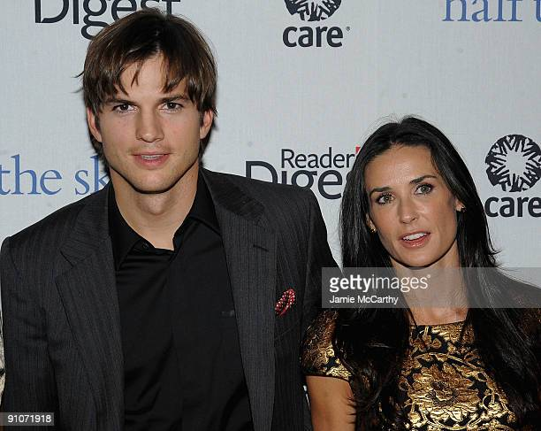 Actors Ashton Kutcher and Demi Moore attend the ''Half The Sky'' book party sponsored by Reader's Digest and CARE at Moura Starr New York on...