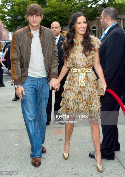 """Actors Ashton Kutcher and Demi Moore attend the """"Spread"""" screening at the UA East Hampton 6 on August 8, 2009 in East Hampton, New York."""